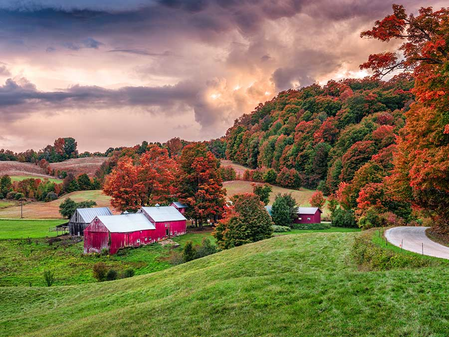 The countryside in Vermont, USA